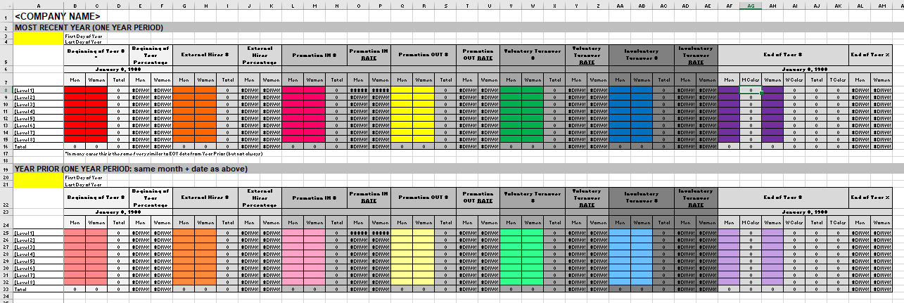 Screenshot of one portion of the Vital Signs Excel template.