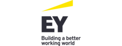 Yellow and black EY logo.